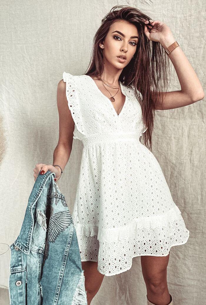 SUKIENKA AZUROWA VINTAGE DRESSING BIALA - Zdjęcie nr 1