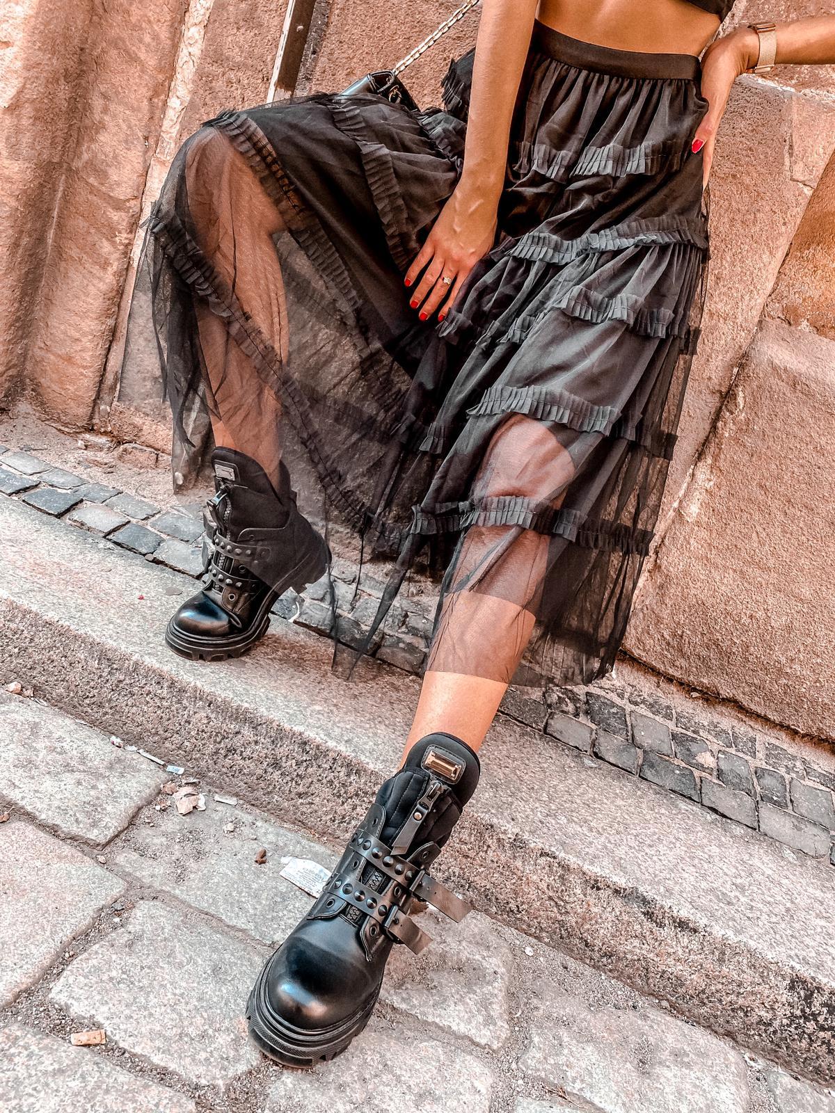 SPÓDNICA TIULOWA MIDI BLACK - Zdjęcie